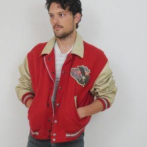 Vintage Red Avirex Leather + Wool Varsity Jacket